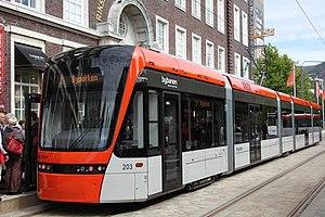 Bergen Light Rail - Tram 203 at the Byparken terminus