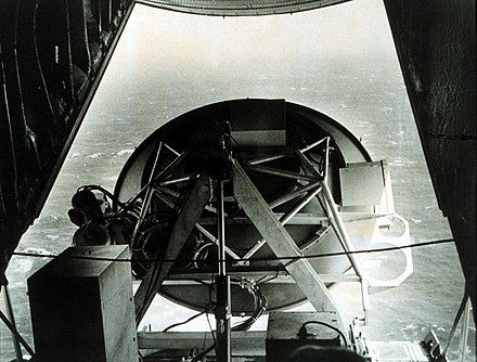 Microwave radar in the tail of a C130 during a flight into Hurricane Ava. C130 tail radar in Hurricane Ava.jpg