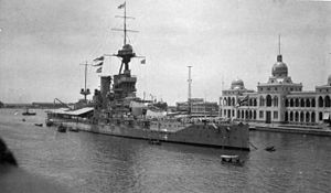 HMS Iron Duke (1912) - Iron Duke in Port Said in 1921