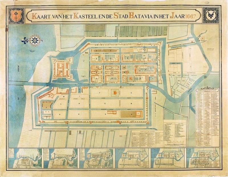COLLECTIE TROPENMUSEUM Kaart voorstellende het Kasteel en de Stad Batavia in het jaar 1667 TMnr 496-2