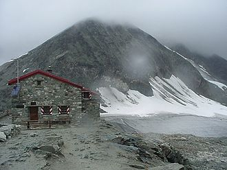 Tracuit Hut - The Tracuit Hut with Les Diablons in the background