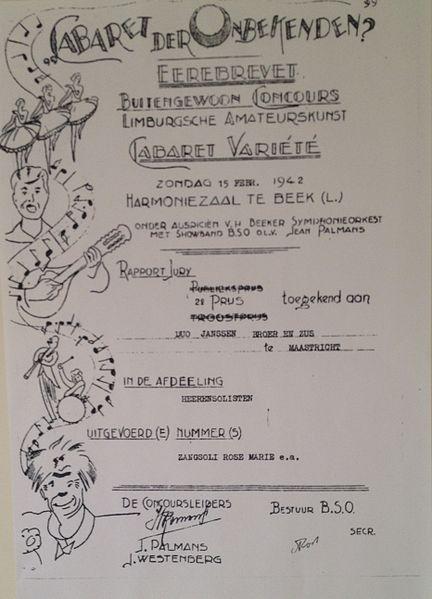 File:Cabaret der Onbekenden - eerbrevet Duo Janssen - 15 februari 1942.jpeg