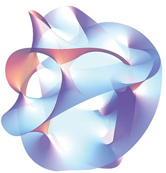 General relativity - Projection of a Calabi–Yau manifold, one of the ways of compactifying the extra dimensions posited by string theory