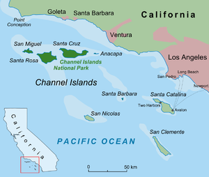 Juana Maria - Image: Californian Channel Islands map en