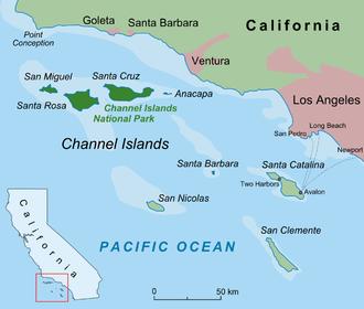 Santa Barbara Island - Map of the Channel Islands of California, indicating Santa Barbara Island.