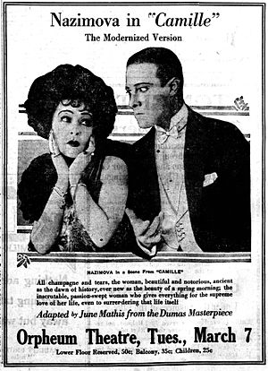 Camille (1921 film) - Newspaper ad from March 1922 in the Coconino Sun (Flagstaff, Arizona) in the Library of Congress