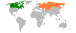 Map indicating locations of Canada and Soviet Union
