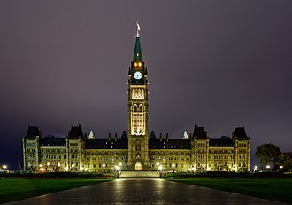 Westminster system - Canadian Parliament at night