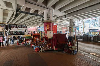 Canal Road, Hong Kong - Villain hitter and her client under the Canal Road Flyover in Hong Kong.
