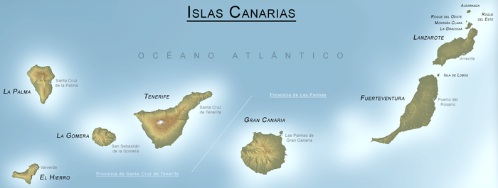 Mapa de las Islas Canarias.