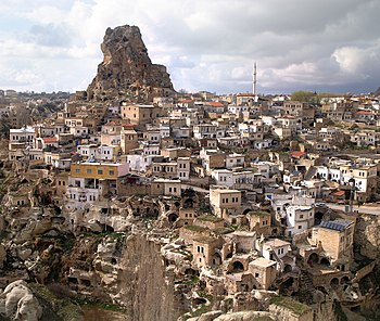 Town of Ortahisar in Cappadocia, a region in c...