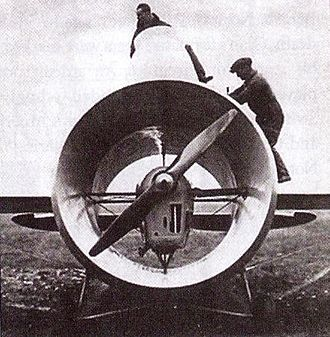 """Stipa-Caproni - A front view of the Stipa-Caproni, showing Stipa's """"intubed propeller"""" design in which the propeller and engine are mounted inside a hollow tube which constitutes the airplane's fuselage. The spats have been removed from the landing gear."""