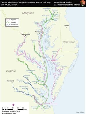 Captain John Smith Chesapeake National Historic Trail - Trail map
