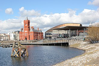 Pierhead Building - The Pierhead Building in context in Cardiff Bay, with the Senedd to the right and the Wales Millennium Centre in the background