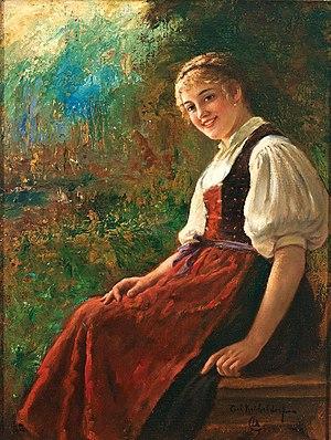 Oktoberfest - Portrait of a girl wearing a dirndl dress