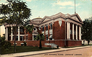 San Antonio Public Library - Carnegie Library, San Antonio, Texas (postcard, circa 1900-1924)