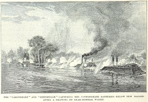 USS Pittsburgh (1861) - Pittsburgh and Carondelet destroy Confederate batteries below New Madrid