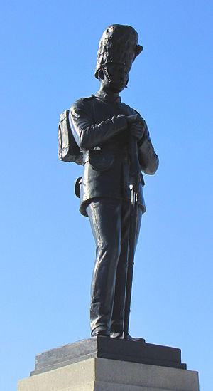 Cartier Square Drill Hall - Statue to Wm. B. Osgoode and John Rogers who fell in action at Cutknife Hill, 2 May 1885