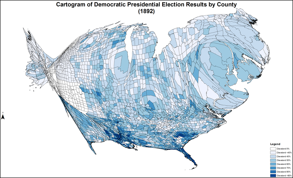 CartogramDemocraticPresidentialCounty1892Colorbrewer