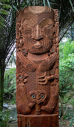Carving of Tane nui a Rangi, at Auckland Zoo.jpg