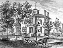 engraving of house with horse carriage