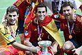Casillas, Arbeloa and Alonso Euro 2012 trophy.jpg