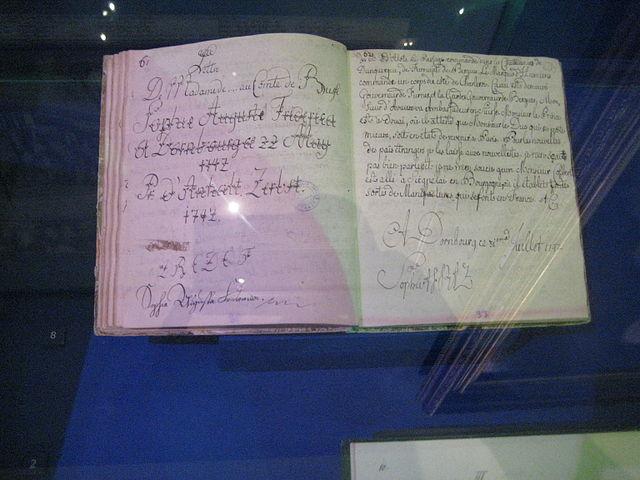 Письменные упражнения в каллиграфии и французском языке принцессы Софии Ангальт-Цербской