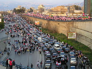 Cedar Revolution - Protesters heading to Martyrs' Square on foot and in vehicles