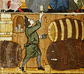 Cellarer and barrels - Treatise on the Vices (late 14th C), f.14 - BL Add MS 27695.jpg
