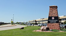 A view of the entrance to Centennial Airport.