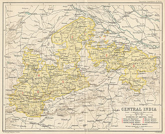 Bundelkhand Agency - Map of the Central India Agency with the Bundelkhand Agency in the eastern part