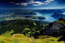 Lucerna e il Lago dei Quattro Cantoni dal Monte Pilatus