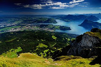 Lucerne - Lucerne and Lake Lucerne from the Pilatus