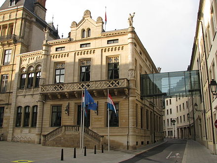 The Hall of the Chamber of Deputies, the meeting place of the Luxembourgish national legislature, the Chamber of Deputies, in Luxembourg City Chamber of Deputies of Luxembourg.JPG