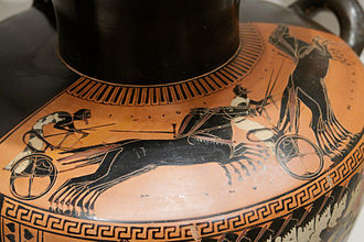 Chariot racing - Chariot racing on a black-figure hydria from Attica, ca. 510 BC
