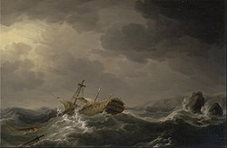 Charles Brooking: Ship wrecked on a rocky coast