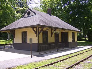 Cheyney station - Cheyney Station depot, circa 2010; SEPTA signage hangs from canopy.