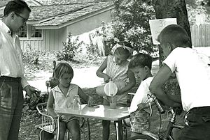 Lemonade - Children operating a lemonade stand in La Cañada Flintridge, California, 1960