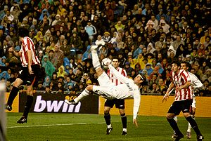 Bicycle kick - Real Madrid defender Sergio Ramos uses a bicycle kick against rivals Athletic Bilbao in a La Liga match in 2010.