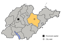 Location of Weifang City jurisdiction in Shandong