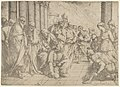 Christ kneels and writes on the pavement in the centre and the woman taken in adultery between three soldiers on the right. MET DP837533.jpg