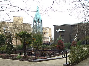 Basildon - Church Garden: the area in front of St. Martin's Church in Basildon Town Centre is landscaped.