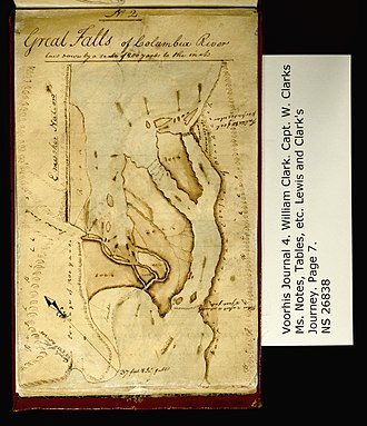 Celilo Falls - Lewis and Clark Expedition map, 1806