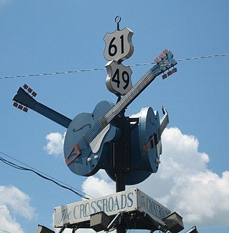 Clarksdale, Mississippi - A crossroads tribute in Clarksdale, where blues guitarist Robert Johnson supposedly sold his soul to the devil