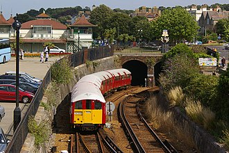 British Rail Class 483 - A pair of Island Line Class 483s in London Underground livery entering the Ryde tunnel.