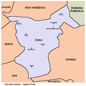 Čoka - Map of Čoka municipality