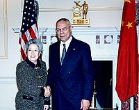 Wu Yi with Colin Powell in 2004