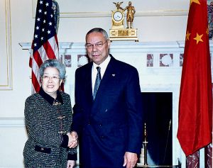 Wu Yi (politician) - Wu Yi with US Secretary of State Colin Powell.