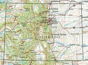Franktown Cave - South Platte basin (ne) and Arkansas River basin (se).  Franktown is slightly east of Castle Rock.