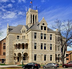 The 3.5 story Romanesque Revival style Comal County Courthouse in New Braunfels was built in 1898.